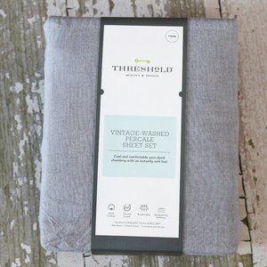NEW THRESHOLD Sheet Set Vintage Wash Percale Twin